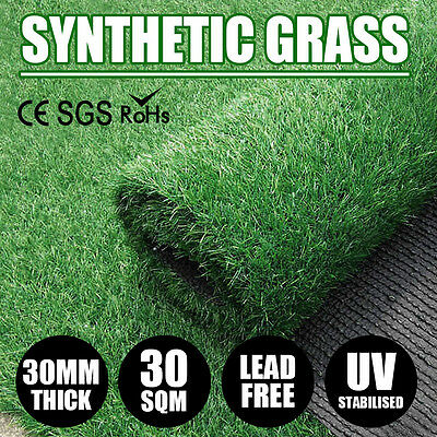 30 SQM Synthetic Turf Artificial Grass Plastic Plant Fake Lawn Flooring 30MM NEW