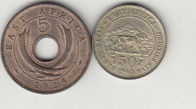 East Africa, 1942 50 Cents and 1925 5 Cents.