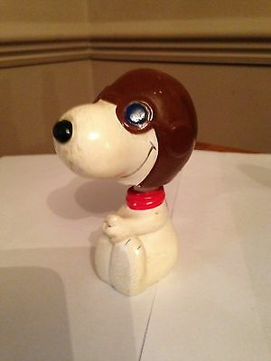"""Vintage 1960's Resin Aviator Snoopy Bobblehead, 4"""" in Height, Collectable Item"""