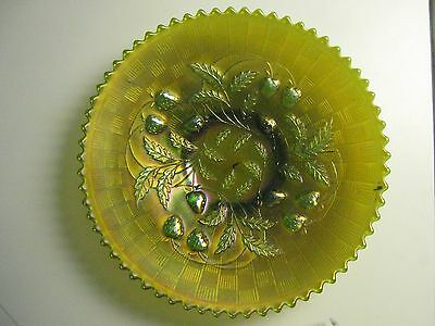 "Northwood Strawberry Green Carnival glass bowl 9"", basket weave underside"