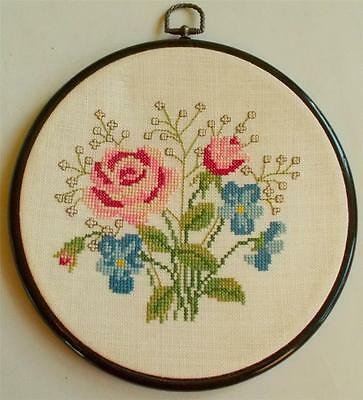 Swedish cross-stitched round, framed linen picture with roses and pansies