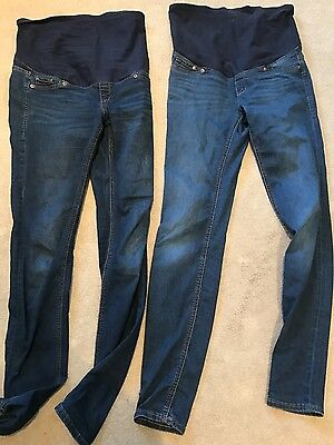 2 pairs ladies h&m maternity blue skinny jeans size 8