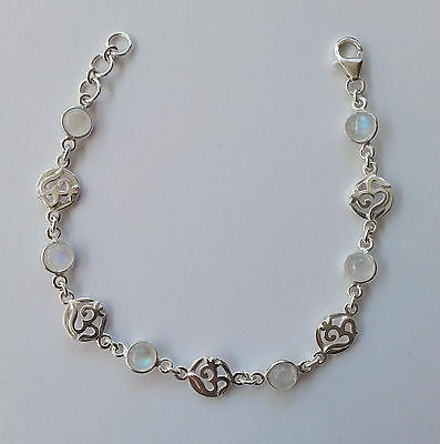 93 OM solid 925 sterling silver bracelet with 6 Rainbow Moonstones rrp $79.99