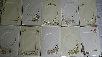 10 colour printed cards with aperture for cross stitch, photos etc.