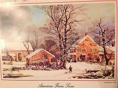 Vintage Christmas Greeting Card American Farm Scene Working Farmers Snow.