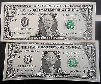 US 2003 A $1 Star  Note consecutive pair UNC