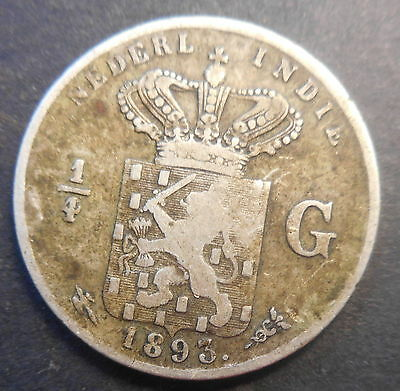 Netherlands East Indies  1893 1/4 Gulden silver   Coin