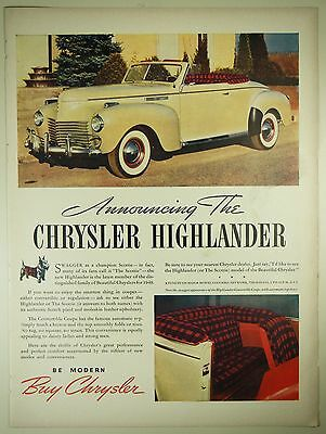 Vintage 1940 CHRYSLER HIGHLANDER Automobile Lg Magazine Print Ad