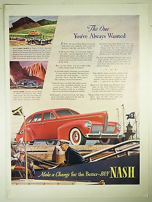 Vintage 1940 NASH Automobile Large Magazine Print Ad - BOATING