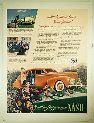 Vintage 1940 NASH Automobile Large Magazine Print Ad - FISHING