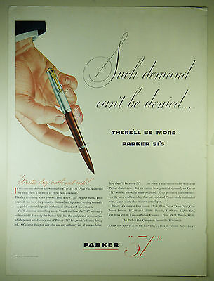 """Vintage 1945 PARKER """"51"""" Fountain Pen Full Page Magazine Print Ad: WWII"""