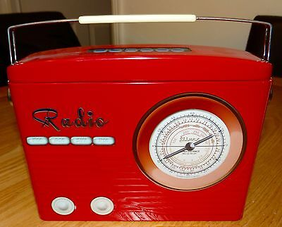 Collectible Retro Radio style sweet tin, empty, foldable handle, very good cond