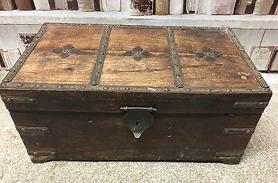 Vintage/Antique Wooden Pattern inlay And Brass Wooden Oak Lockable Box