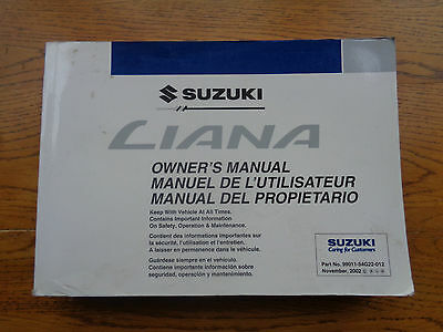 Suzuki Liana Owners Handbook/Manual 01-04