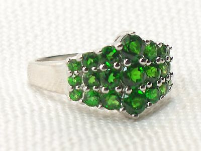 Estate Sterling Silver Signed WK Chrome Diopside Pyramid Ring