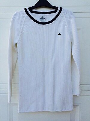 Lacoste Womens Sweater White Large SZ 42/ US Roundneck Long Sleeve