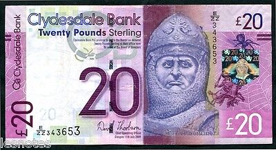 SCOTLAND   Clydesdale Bank  £20   2009    W/HS series  REPLACEMENT    E/ZZ