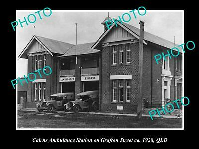 OLD LARGE HISTORIC PHOTO OF CAIRNS QUEENSLAND, AMBULANCE STATION GRAFTON St 1928