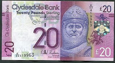 SCOTLAND   Clydesdale Bank  £20   2014     REPLACEMENT  Last  Thorburn.
