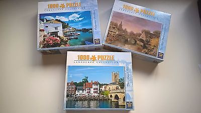 Set of 3, King, 1000 pc, jigsaw puzzles, landscapes