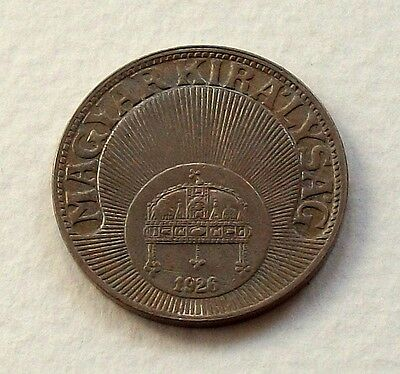 Hungary 1926 10 Filler Coin - Nice Almost Uncirculated Coin @ No Reserve!