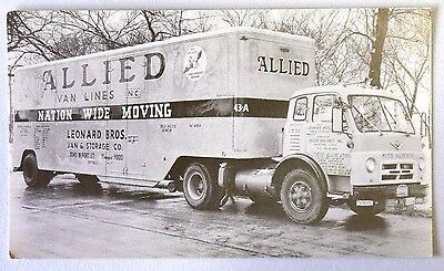 ALLIED VAN LINES NATION WIDE MOVING SEMI TRUCK LEONARD BROS RPPC Postcard 1119