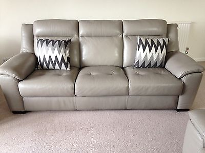 Taupe Leather 3 Seat Sofa And 2 X Electric Recline Chairs