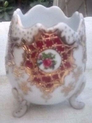 Richly Handpainted Egg-Shaped Vase with Gliding,European Maker, 3 1/4 inches