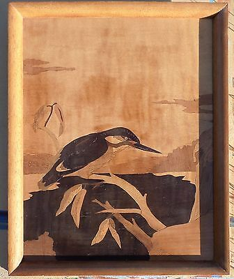 Two Vintage Marquetry Pictures of a Kingfisher and an Eagle