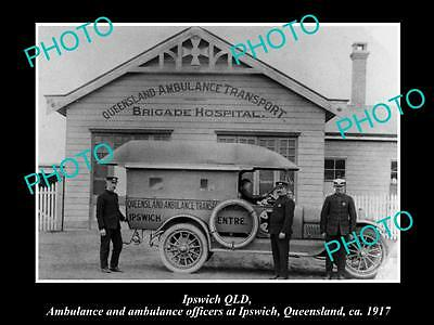 Old Large Historic Photo Of Ipswich Qld, The Queensland Ambulance Station 1917