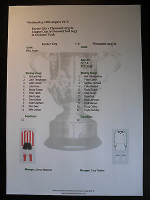 1976-77 League Cup 1st Round (2nd Leg) Exeter City v Plymouth Argyle Matchsheet
