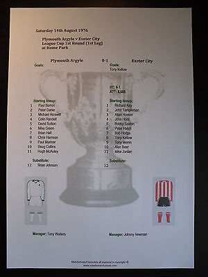 1976-77 League Cup 1st Round (1st Leg) Plymouth Argyle v Exeter City Matchsheet