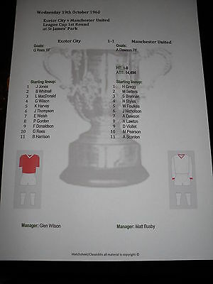 1960-61 Exeter City v Manchester United League Cup 1st Round Matchsheet