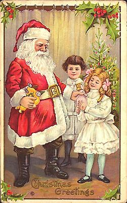 Embossed Postcard Christmas, Santa Claus With Children & Doll