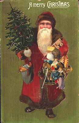 Embossed Postcard Christmas, Santa Claus With Toys & Tree