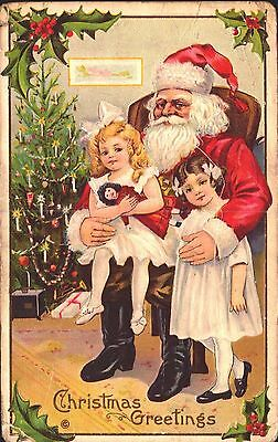 Embossed Postcard Christmas, Santa Claus With Little Girls, Children