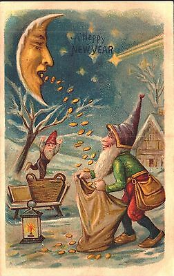 Embossed Postcard New Year, Gnomes With Sack Of Gold