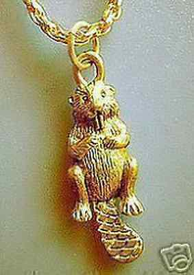 LOOK Gold Plated Otter Beaver Jewelry charm Pendant Jewelry