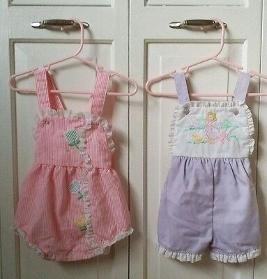 Vintage baby clothes lot pink purple size 12 months carters buster brown rompers