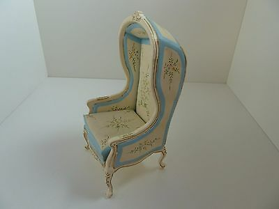 Dolls House Miniature 1:12 Scale Bedroom Furniture Blue & Cream Hooded Chair