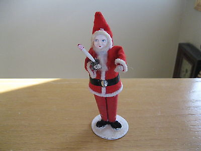 Antique Santa Hard Face Chenille Pipe Cleaner Felt with Candle and Putz Base