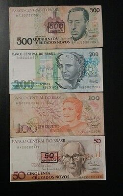 Brazil 4 different banknotes