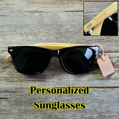Personalized Free Engraving Bamboo Wood Sunglasses Groomsmen Birthday Gift