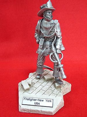"Fdny ""firefighters Of The World"" - Very Detailed Pewter Sculpture - 6"" Approx"