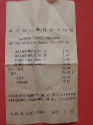 Vintage/ Collectable  -  2001  'Woolworths' Till Receipt