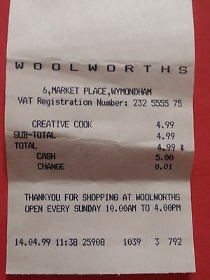 Vintage/ Collectable  - 1999  'Woolworths'  Till Receipt