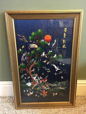 Vintage large Chinese/oriental silk needlework embroidered picture in Gold frame