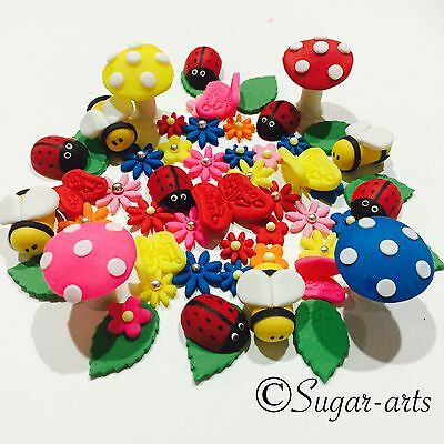 Edible Sugar Fairy Garden Cake Decorating Toppers Set X 50 Pieces