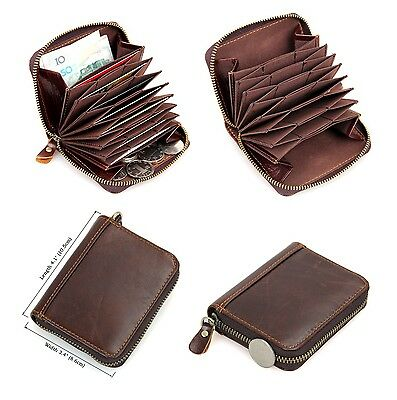 RFID SAFE Blocking Soft Brown Leather Bifold Coin Pocket Wallet Card Protection