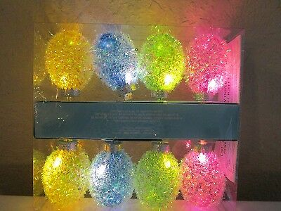 Sparkly Sequined 8 Easter Egg Led String Lights Battery Operated Nip